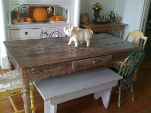 my dining room table (we moved the pig)